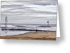 Hdr Two Light Towers Beach Beaches Ocean Sea Seaview Oceanview Photos Pictures Photography Photo Pic Greeting Card by Pictures HDR