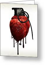 Heart Grenade Greeting Card by Nicklas Gustafsson
