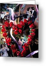 Heart Shaped Roses And Old Postcards Greeting Card by Garry Gay