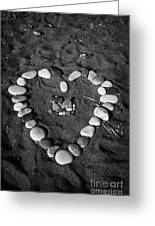 Heart Symbol Made Out Of Pebbles On The Beach At Aphrodites Rock Petra Tou Romiou Cyprus Greeting Card by Joe Fox
