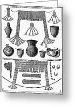 Heinrich Schliemann (1822-1890). German Traveller And Archeologist. Some Of The Antiquities Excavated By Schliemann At Hissarlick, Turkey, Site Of Ancient Troy. Wood Engraving, English, 1877 Greeting Card by Granger