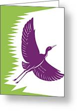 Heron Crane Flying Retro Greeting Card by Aloysius Patrimonio