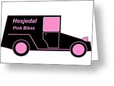 Hesjedal Pink Bikes - Virtual Car Greeting Card by Asbjorn Lonvig