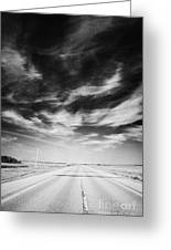 Highway Through Land Of The Living Skies Saskatchewan Canada Greeting Card by Joe Fox
