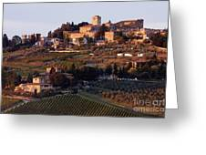 Hill Town Of Panzano At Dusk Greeting Card by Jeremy Woodhouse