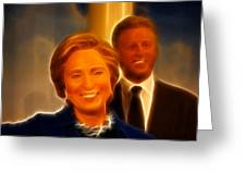 Hillary Rodham Clinton - United States Secretary Of State - Bill Clinton Greeting Card by Lee Dos Santos