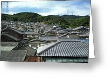 HILLSIDE VILLAGE in JAPAN Greeting Card by Daniel Hagerman