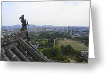 Himeji City From Shogun's Castle Greeting Card by Daniel Hagerman