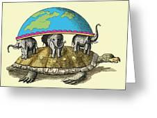 Hindu Cosmological Myth Greeting Card by Sheila Terry