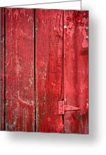 Hinge On A Red Barn Greeting Card by Steve Gadomski