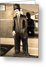 Historic Niles District In California Near Fremont . Charlie Chaplin Statue At The Florence Bar . Se Greeting Card by Wingsdomain Art and Photography