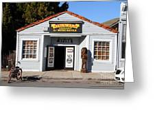 Historic Niles District In California.motorized Bike Outside Devils Workshop And Mercantile.7d12727 Greeting Card by Wingsdomain Art and Photography