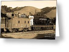 Historic Niles Trains In California.southern Pacific Locomotive And Sante Fe Caboose.7d10843.sepia Greeting Card by Wingsdomain Art and Photography