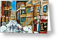 Hockey Art In Montreal Greeting Card by Carole Spandau