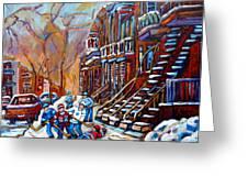 Hockey Art Montreal Streets Greeting Card by Carole Spandau