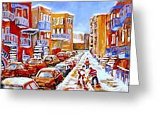 Hockey Art Streets Of Montreal Hockey Paintings Greeting Card by Carole Spandau