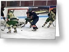 Hockey One On Four Greeting Card by Thomas Woolworth