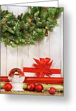 Holiday Wreath With Snow Globe Greeting Card by Sandra Cunningham