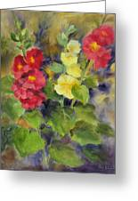 Hollyhocks Greeting Card by Karin  Leonard