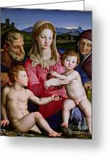 Holy Family With St Anne And The Infant St John The Baptist Greeting Card by Agnolo Bronzino