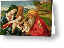 Holy Family with St. Simeon and John the Baptist Greeting Card by Francesco Rizzi da Santacroce