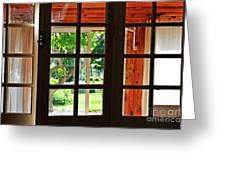Home Garden Through Window Greeting Card by Sami Sarkis
