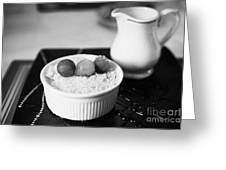 Home Made Apple Crumble Dessert With Grapes Served In A Gastro Pub Scotland Uk Greeting Card by Joe Fox