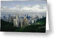 Hong Kong Island And The Bay Greeting Card by Jason Edwards