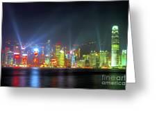 Hong Kong Night Lights Greeting Card by Bibhash Chaudhuri