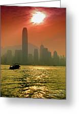 Hong Kong Sunset Greeting Card by Bibhash Chaudhuri