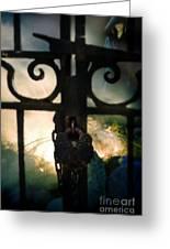 Hooded Figure By A Fire Greeting Card by Jill Battaglia
