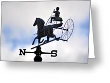 Horse And Buggy Weather Vane Greeting Card by Bill Cannon