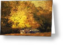 Horse Barn In The Shade Greeting Card by Kathy Jennings
