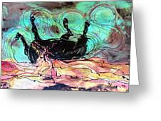 Horse Born Of Earth Water Sky Greeting Card by Carol Law Conklin