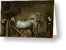 Horse In A Stable Greeting Card by Gerard Terborch