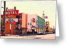 Horse Shoe Motel Greeting Card by Wingsdomain Art and Photography
