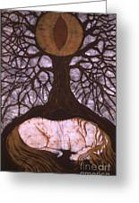 Horse Sleeps Below Tree Of Rebirth Greeting Card by Carol  Law Conklin