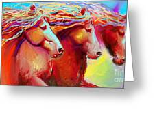 Horse Stampede Painting Greeting Card by Svetlana Novikova