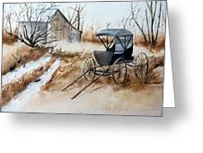 Horsepowered Winter Surrey Painting Greeting Card by Cindy Wright