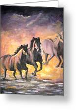 Horses Greeting Card by Usha Rai