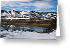 Horsetooth Reservoir Winter Scene Greeting Card by Harry Strharsky