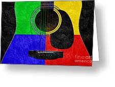 Hour Glass Guitar 4 Colors 1 Greeting Card by Andee Design