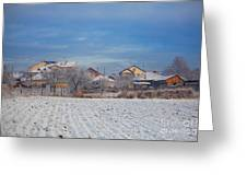 Houses In Winter Greeting Card by Gabriela Insuratelu