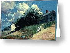 Houses On A Hill Greeting Card by Winslow Homer