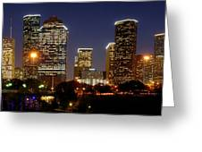 Houston Skyline At Night Greeting Card by Jon Holiday