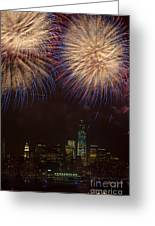 Hudson River Fireworks Xi Greeting Card by Clarence Holmes