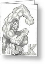 Hulk Greeting Card by Rick Hill