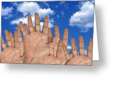 Human Hands And The Sky, Conceptual Image Greeting Card by Victor De Schwanberg