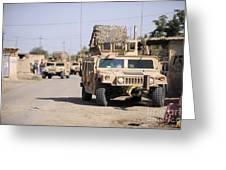 Humvees Conduct Security Greeting Card by Stocktrek Images