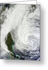 Hurricane Sandy Off The Southeastern Greeting Card by Stocktrek Images